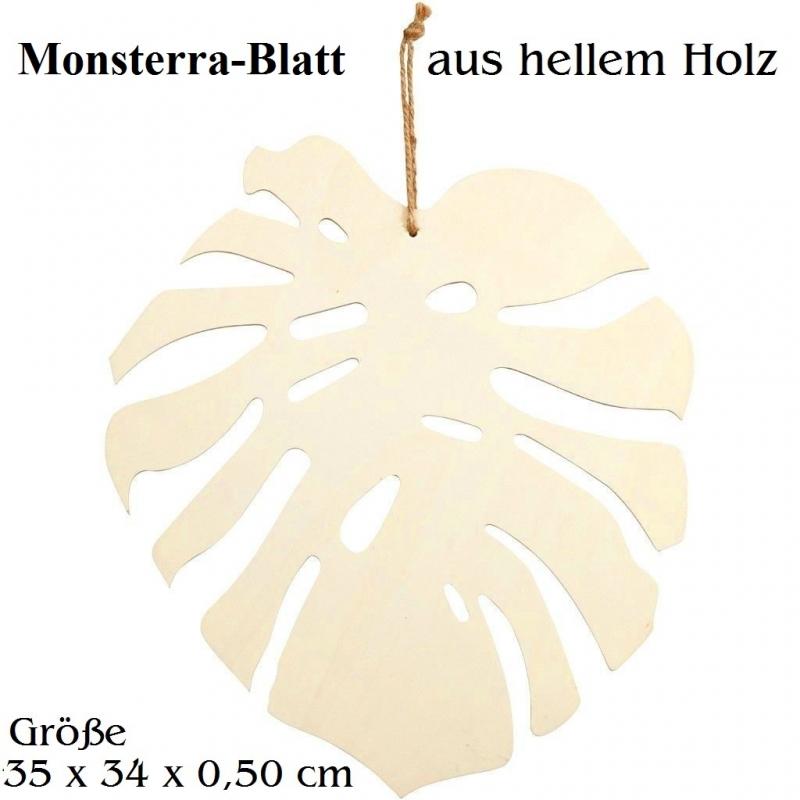Kleinesbild - Monsterra-Blatt aus Holz zum anmalen Hängedeko zum Verziehren tolle Wohndeko