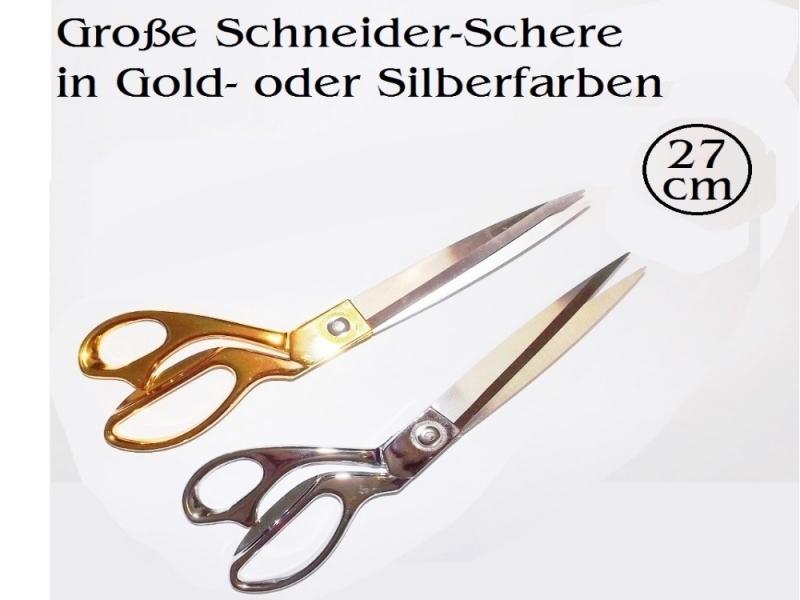- Schneider-Schere Textil-Schere Stoff-Schere 27 cm in Silberfarben - Schneider-Schere Textil-Schere Stoff-Schere 27 cm in Silberfarben