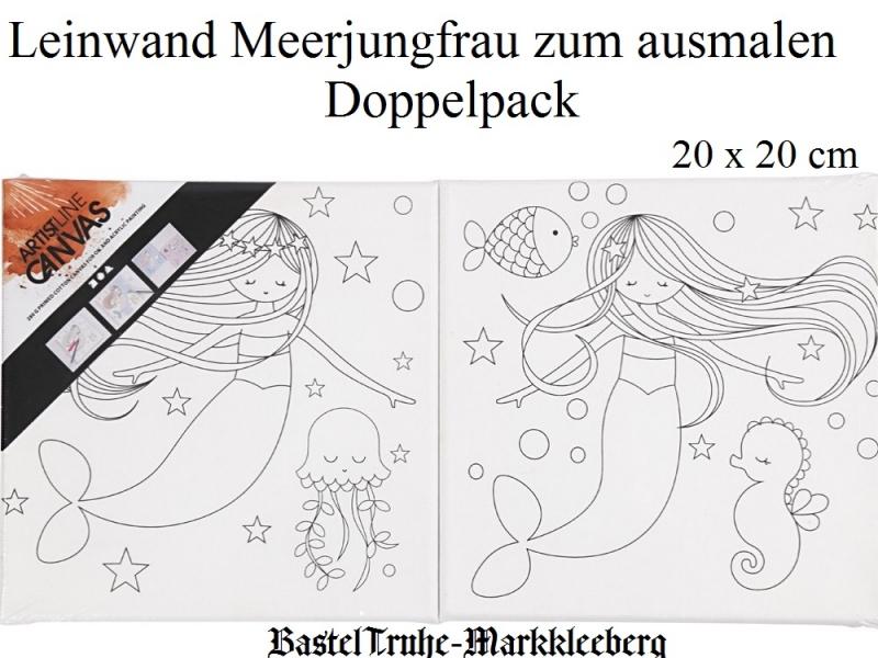 - Leinwand mit Aufdruck Meerjungfrau zum bemalen und verzieren Doppelpack 20x20 je Motiv - Leinwand mit Aufdruck Meerjungfrau zum bemalen und verzieren Doppelpack 20x20 je Motiv