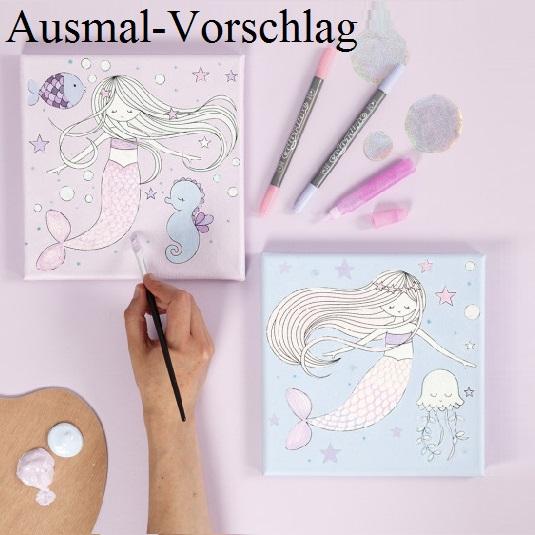 Kleinesbild - Leinwand mit Aufdruck Meerjungfrau zum bemalen und verzieren Doppelpack 20x20 je Motiv