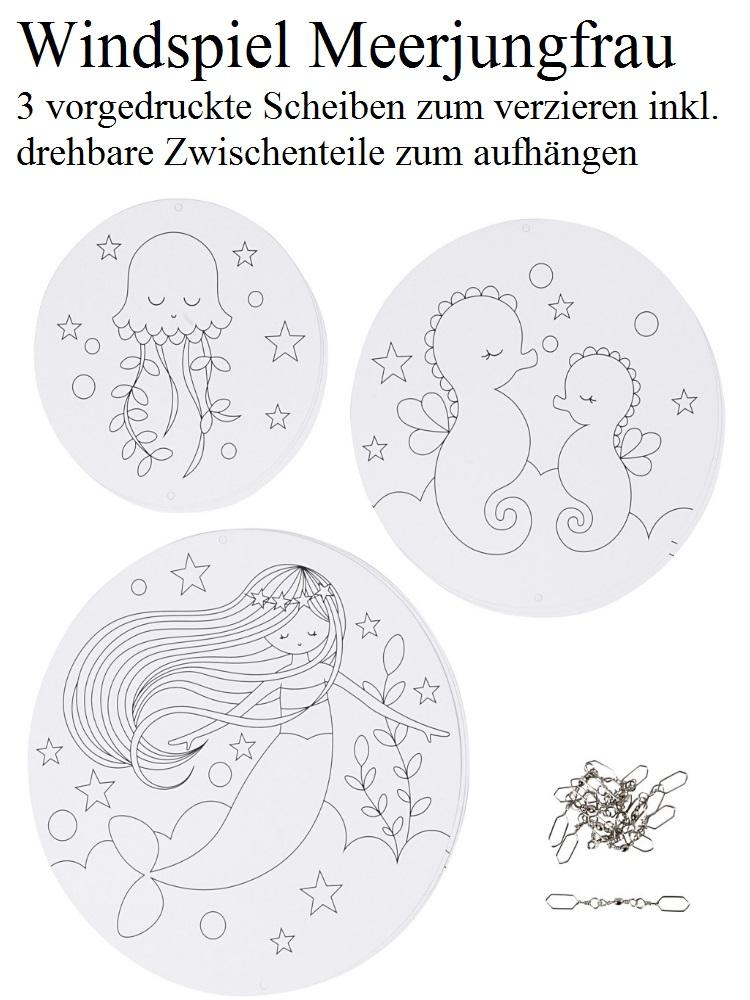 - Windspiel für Kinder Meerjungfrau Mobile zum ausmalen und dekorieren Kinderzimmer deckenhänger - Windspiel für Kinder Meerjungfrau Mobile zum ausmalen und dekorieren Kinderzimmer deckenhänger