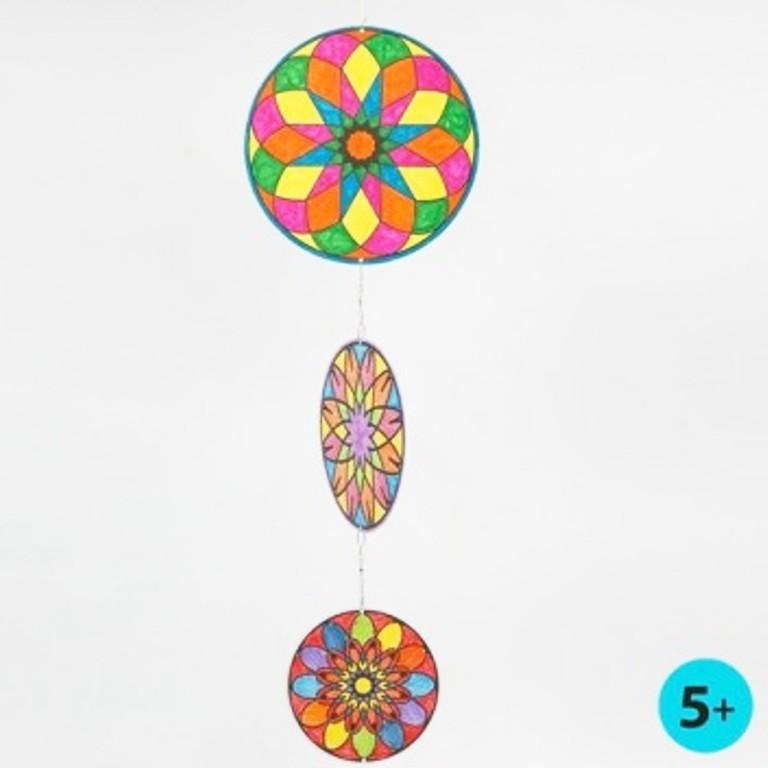 Kleinesbild - Windspiel für Kinder Mandala Mobile zum ausmalen und dekorieren Kinderzimmer Deckenhänger