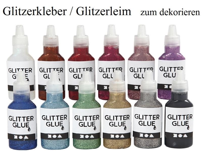 Kleinesbild - Glitzerleim, Glitzerkleber in vielen Farben zum dekorieren & verzieren, Grün 25 ml Flitter Glitter