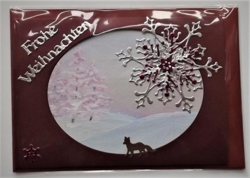 Kleinesbild - Weihnachtskarte in Weinrot mit handgemaltem Hintergrund
