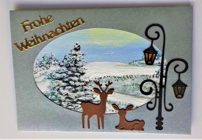 - Weihnachtskarte in silbergrau mit handgemaltem Hintergrund - Weihnachtskarte in silbergrau mit handgemaltem Hintergrund
