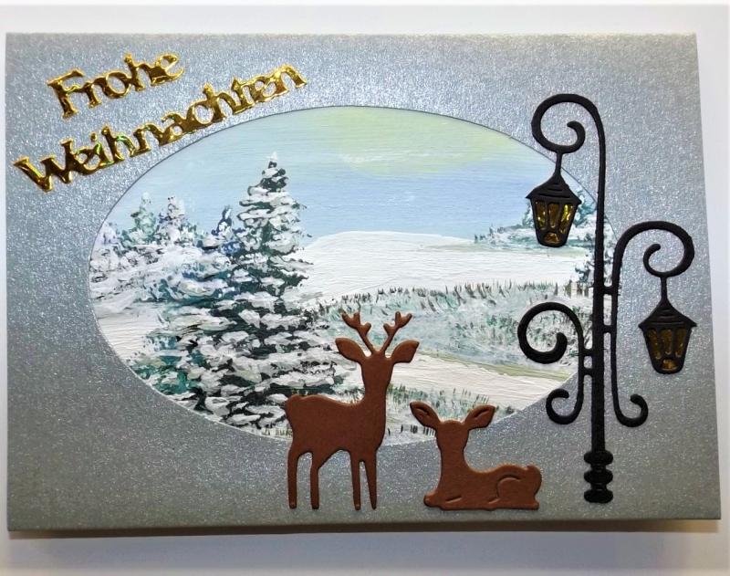 Kleinesbild - Weihnachtskarte in silbergrau mit handgemaltem Hintergrund