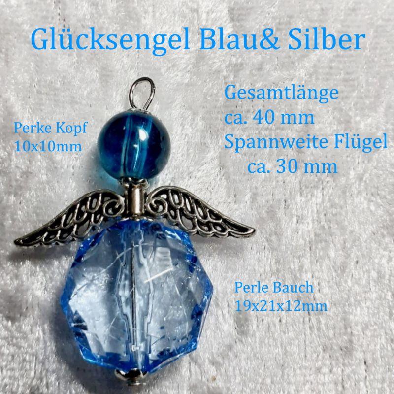 Kleinesbild - Schutzengel Glücksengel, Kettenanhänger Glücksbringer Engel Anhänger Blau-Silbern ca.4x3 cm