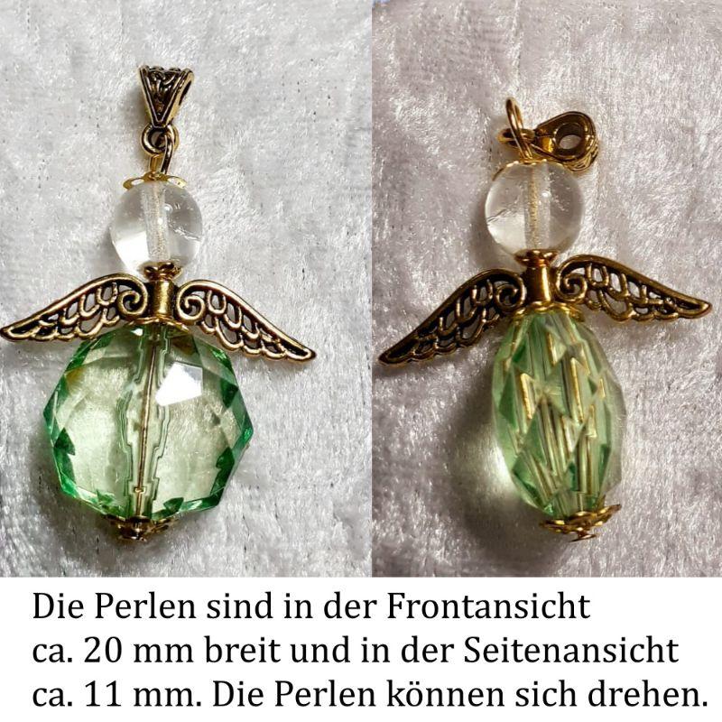 Kleinesbild - Schutzengel Glücksengel, Kettenanhänger Glücksbringer Engel Anhänger Grün-Gold ca.4,5x3 cm