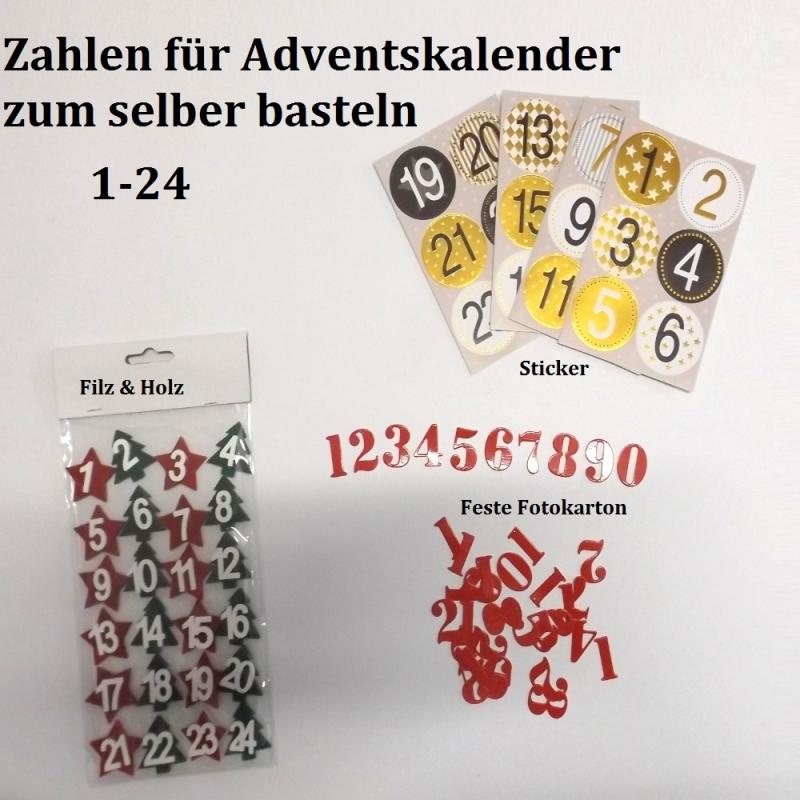 Kleinesbild - 24 Zahlen für Adventskalender Filz & Holz Tannen & Sterne Vorweihnachtszeit