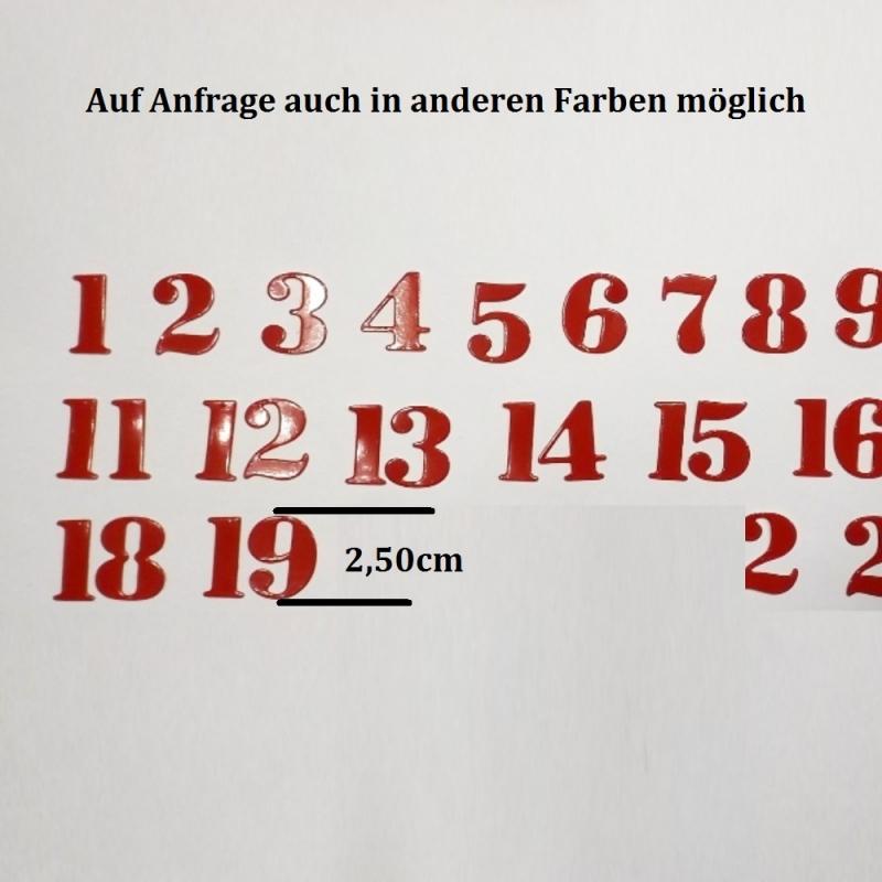 Kleinesbild - 24 Zahlen für Adventskalender Vorweihnachtszeit Stanzteile 1-24, Farben frei Wählbar