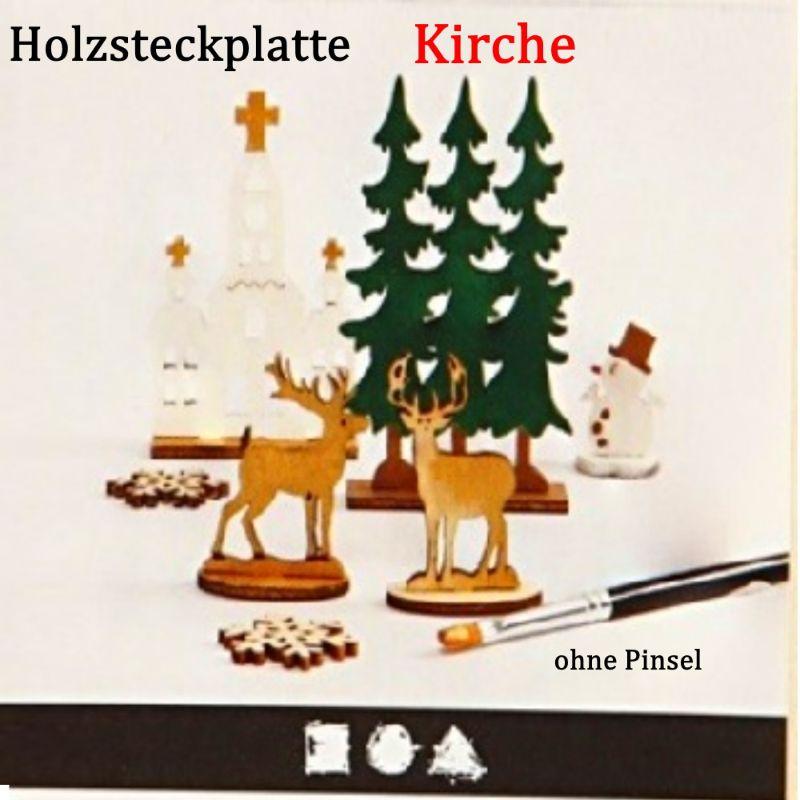 Kleinesbild - Holzsteck-Deko Motiv KIRCHE, zum verzieren und Dekorieren, Weihnachtsfiguren Holzfiguren Weihnachten