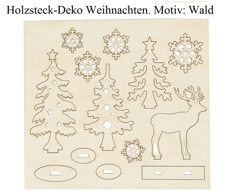 Kleinesbild - Holzsteck-Deko Motiv Wald, zum verzieren und Dekorieren, Weihnachtsfiguren Holzfiguren Weihnachten