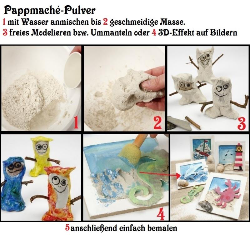 Kleinesbild - Pappmaché-Pulver 140 gr zum basteln, Pulver mit Wasser anrühren, modellieren, gestalten, formen