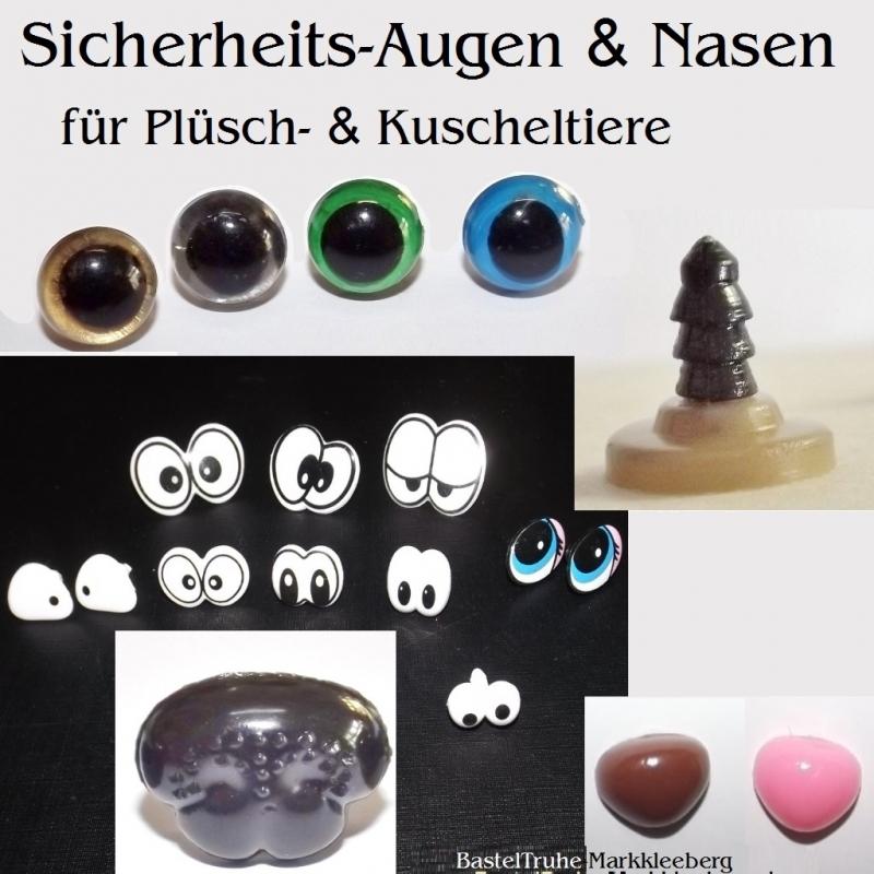 Kleinesbild - 14 mm Teddy-Augen mit Augenlid in Braun, Plüschtier-Augen Kuscheltier-Augen SI-Augen als Set