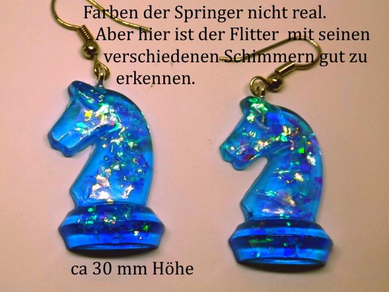 Kleinesbild - Schmuck-Set Schachfiguren Springer & Läufer blau Transparent Ohrringe und Kettenanhänger Schach - Fans