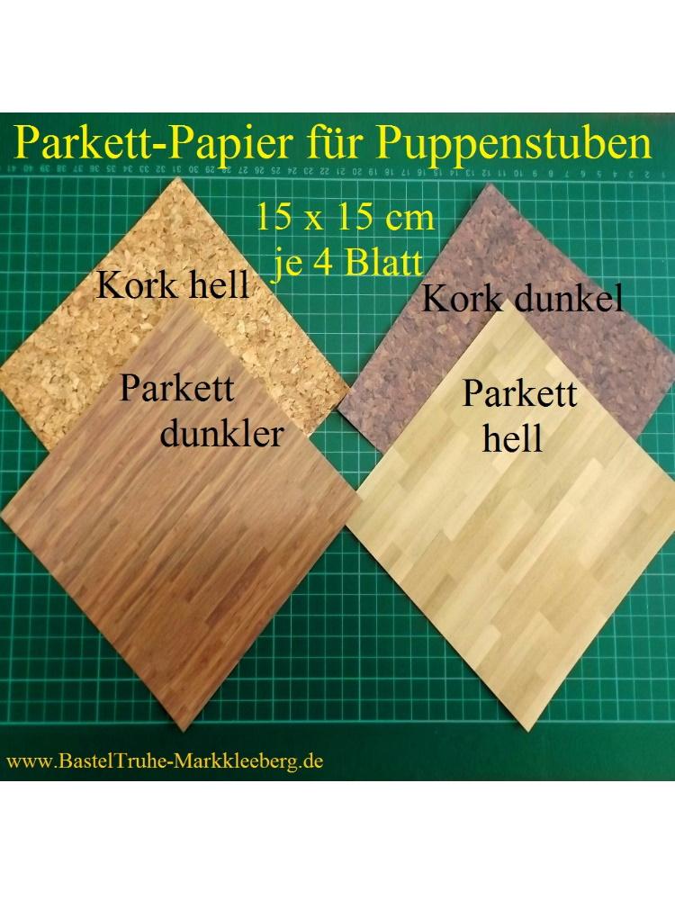 Kleinesbild - Puppenstubentapete -- Parkett Hell -- Tapete für Puppenhaus Kork-Tapete Parkett-Papier Fußboden 4x 15 x 15 cm