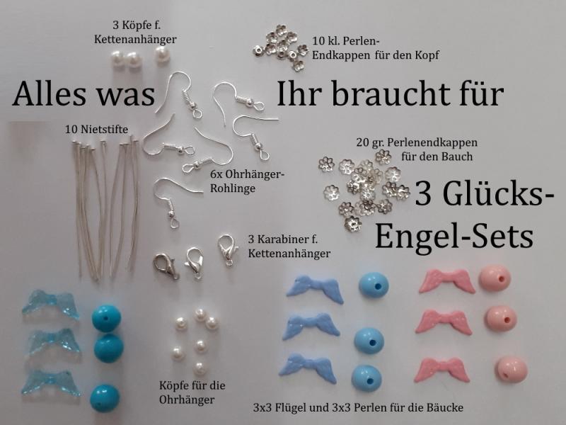 Kleinesbild - 3 Schmuck-Sets zum selber basteln Glücksengel 76 Teile ergeb 3 Sets, 3 Paar Ohrhänger + 3 Ketten