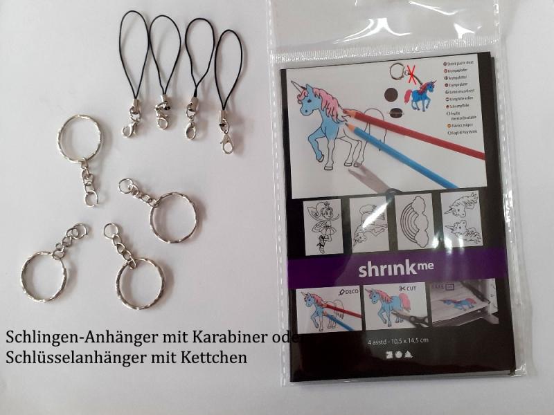 Kleinesbild - Schlüsselanhänger für Kinder zum selber basteln Schrumpffolien für Schlüssel-Anhänger als Elfe, Einhorn, Regenbogen-Set 4 Motive