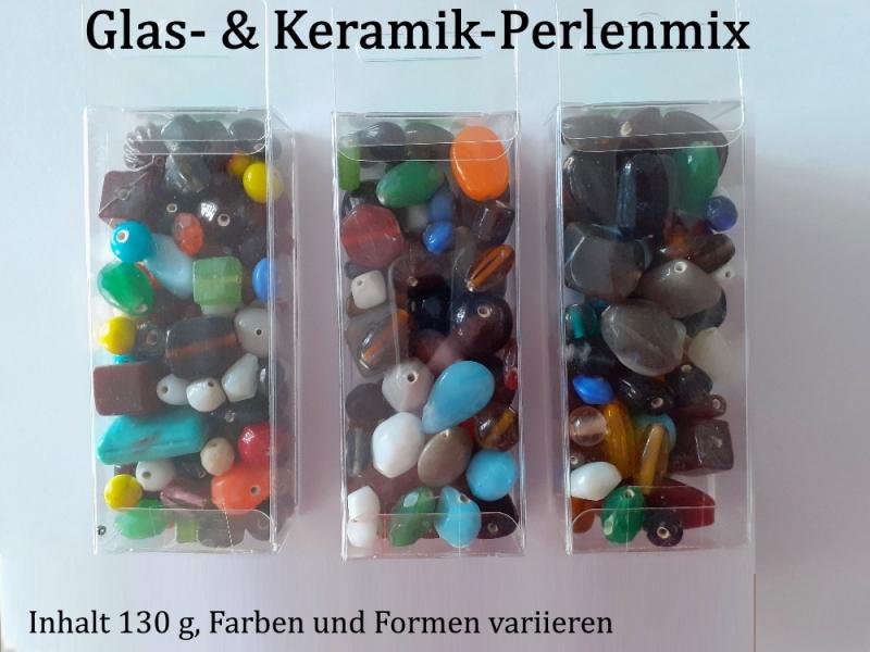Kleinesbild - Glas- & Keramik-Perlen-Mix Glasperlen Keramikperlen Farbmix Mischsortiment 130 Gramm