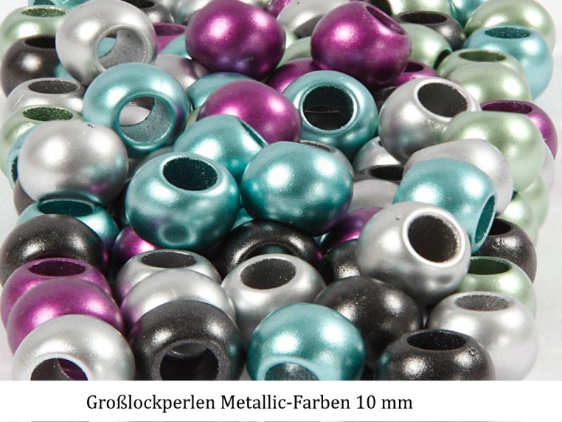 - Großloch-Perlen zum Haare flechten, Ketten & Armbänder fädeln Metallic Farben ca 50-55 Stück - Großloch-Perlen zum Haare flechten, Ketten & Armbänder fädeln Metallic Farben ca 50-55 Stück