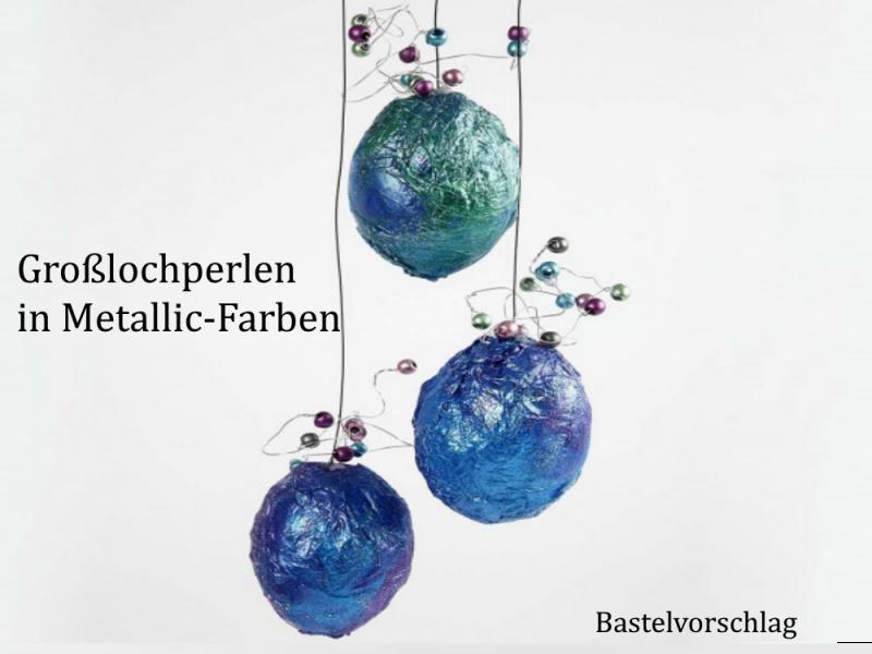 Kleinesbild - Großloch-Perlen zum Haare flechten, Ketten & Armbänder fädeln Metallic Farben ca 50-55 Stück