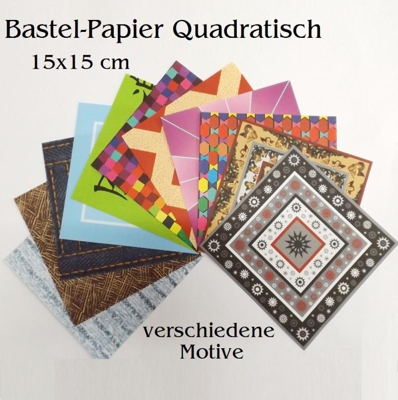 Kleinesbild - Faltpapier für Basketta-Sterne Origami-Papier Bastel-Papier Jeans & Gestricktes 33 Bögen 15 x15 cm