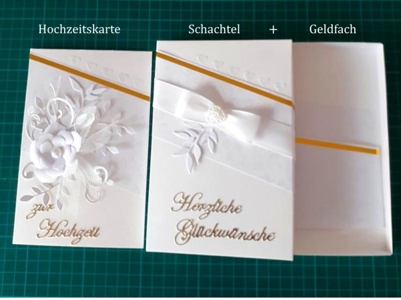 Kleinesbild - Hochzeitskarte + Geschenkschachtel für Geldgeschenk / Gutscheingeschenk