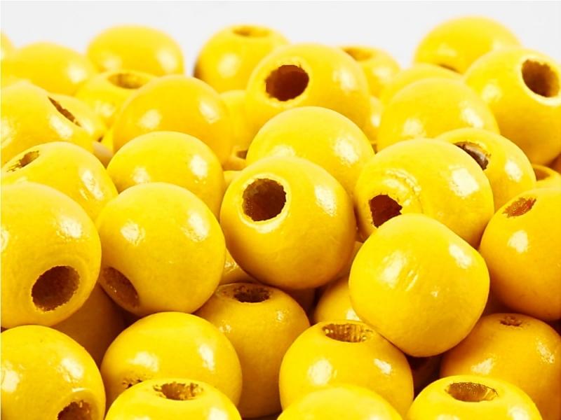 Kleinesbild - Perlen aus Holz, - Gelb lackiert -, Holzperlen 12 mm Holzkugeln, Kinderperlen Perlenketten fädeln