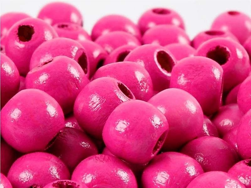 Kleinesbild - Perlen aus Holz, - dunkel Pink / Magenta lackiert -, Holzperlen 12 mm Holzkugeln, Kinderperlen Perlenketten fädeln