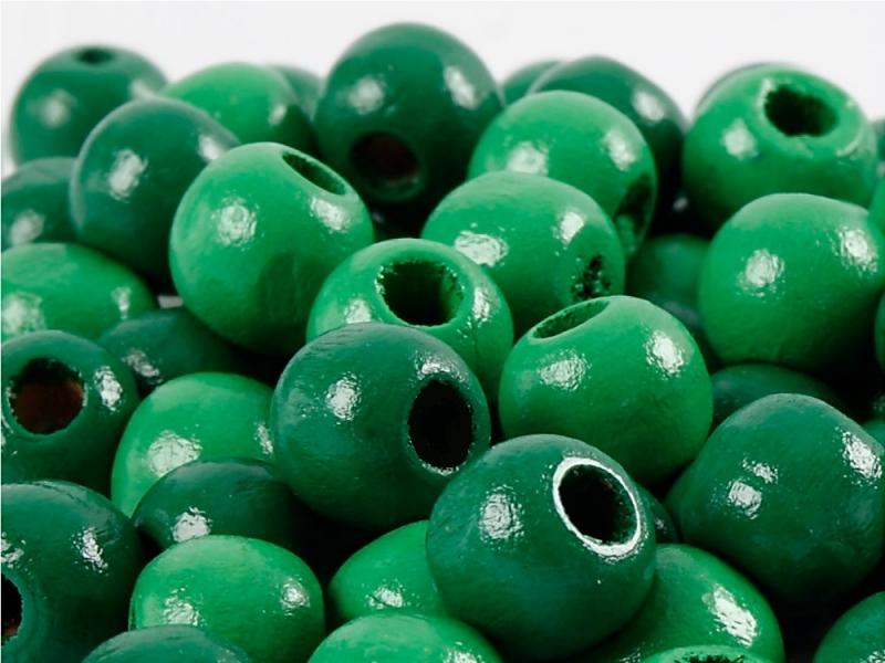 Kleinesbild - Perlen aus Holz, - dunkel Grün lackiert -, Holzperlen 12 mm Holzkugeln, Kinderperlen Perlenketten fädeln
