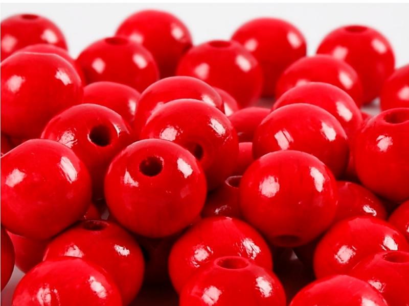 Kleinesbild - Perlen aus Holz, - Rot lackiert -, Holzperlen 12 mm Holzkugeln, Kinderperlen Perlenketten fädeln
