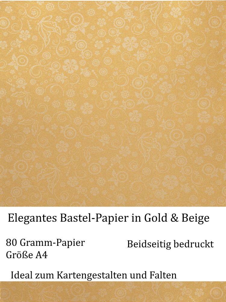 Kleinesbild - Elegantes Faltpapier in Golden, Deko-Papier, Bastelpapier perfekt für Karten, schachteln, zum Stanzen uvm