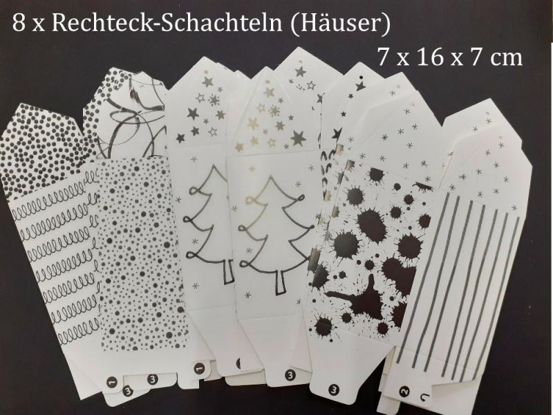 Kleinesbild - Adventskalender zum zusammen bauen, Weihnachtskalender-Set, 24 Schachtel-Set mit Dekorationen