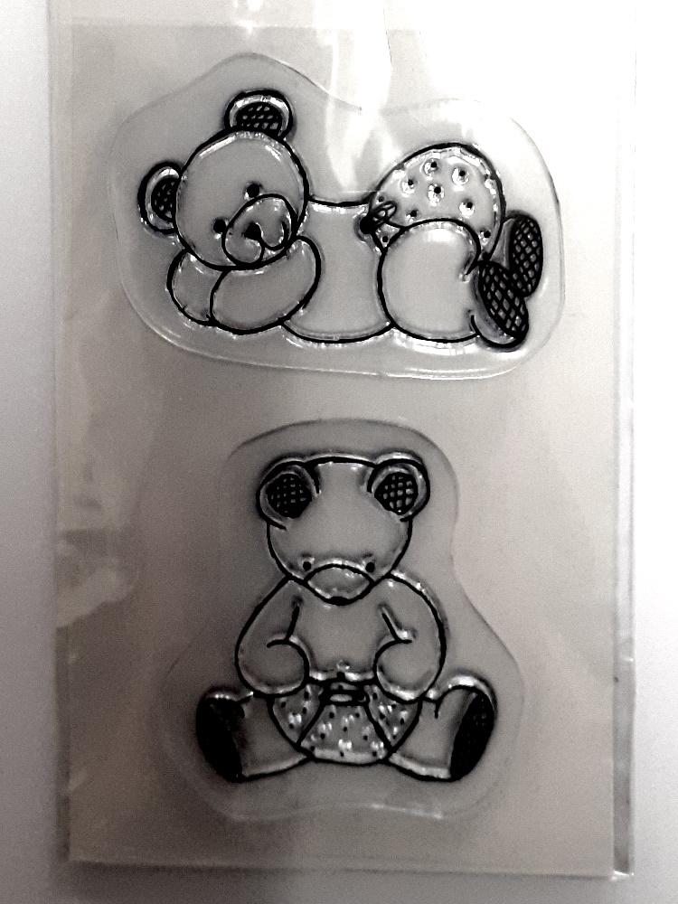 Kleinesbild - Silikon-Stempel, Clear Stamps, Baby Bär im Doppelpack Geburt Glückwunschkarte