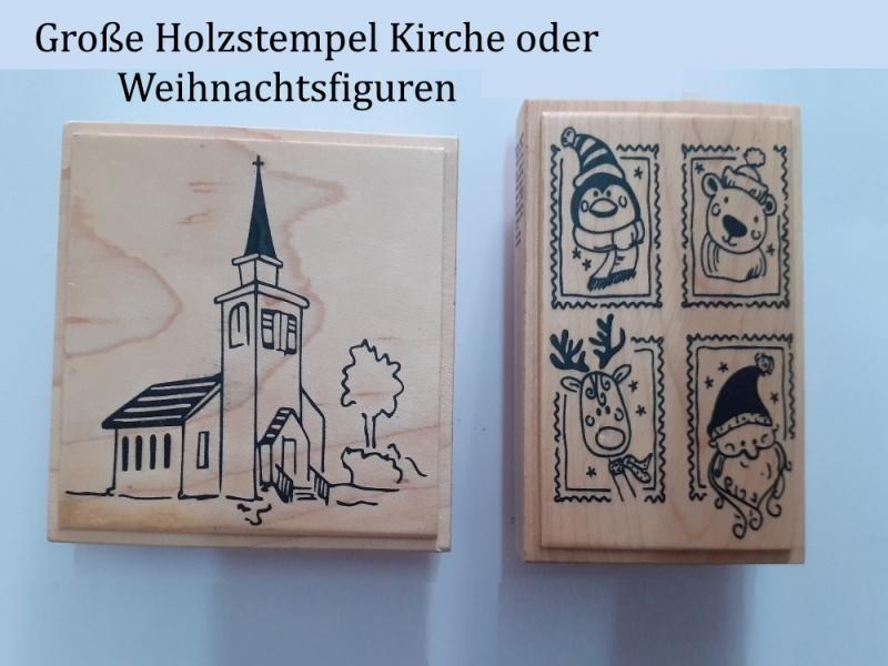 Kleinesbild - Holz-Stempel Weihnachten, Briefmarken Glückwunschkarte Weihnachtsmann, Rentier, Christmas