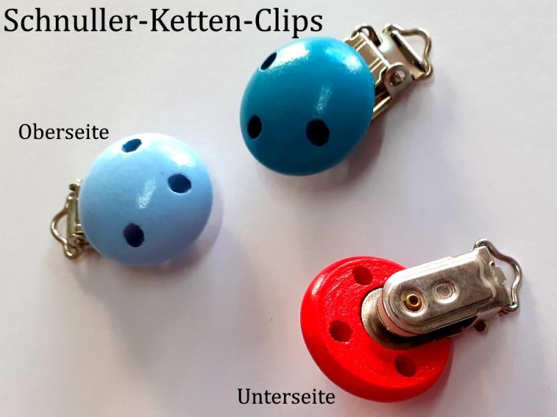 Kleinesbild - Schnuller-Kette selber basteln, HELLBLAU lackiert, Schnuller-Clip aus lackiertem Holz, Baby, Nuckel, Schnuller,