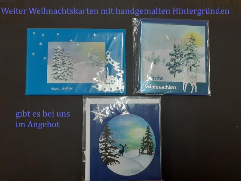 Kleinesbild - Weihnachtskarte mit Laterne und handgemalten Hintergrund aufwendig gestaltet, Merry Christmas, Weihnachten, Karte