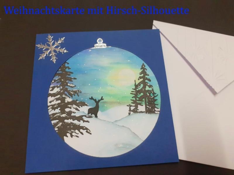 - Weihnachtskarte mit Hirschsilhouette und handgemalten Hintergrund aufwendig gestaltet, Frohe Weihnachten, Weihnachten, Karte  - Weihnachtskarte mit Hirschsilhouette und handgemalten Hintergrund aufwendig gestaltet, Frohe Weihnachten, Weihnachten, Karte