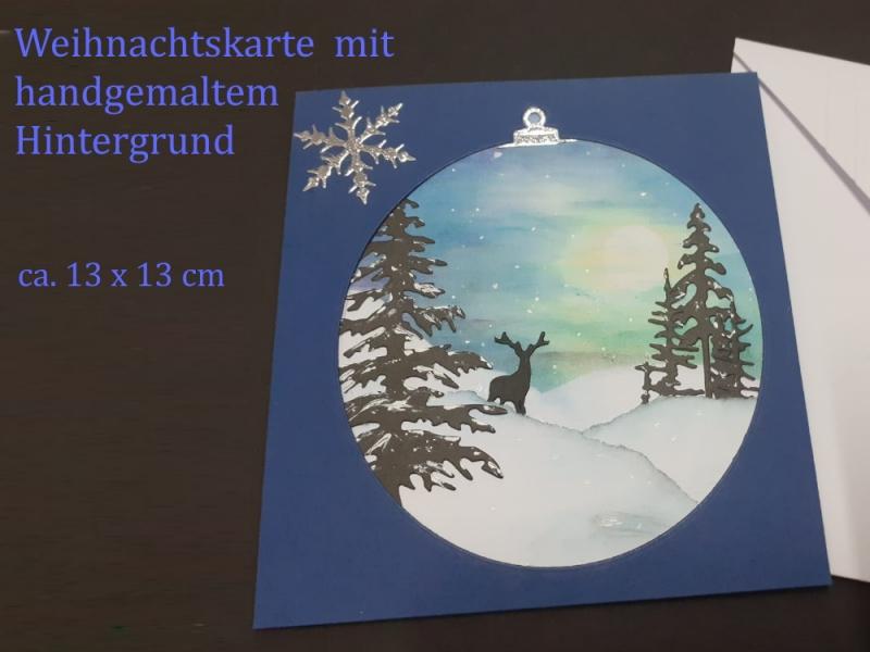 Kleinesbild - Weihnachtskarte mit Hirschsilhouette und handgemalten Hintergrund aufwendig gestaltet, Frohe Weihnachten, Weihnachten, Karte