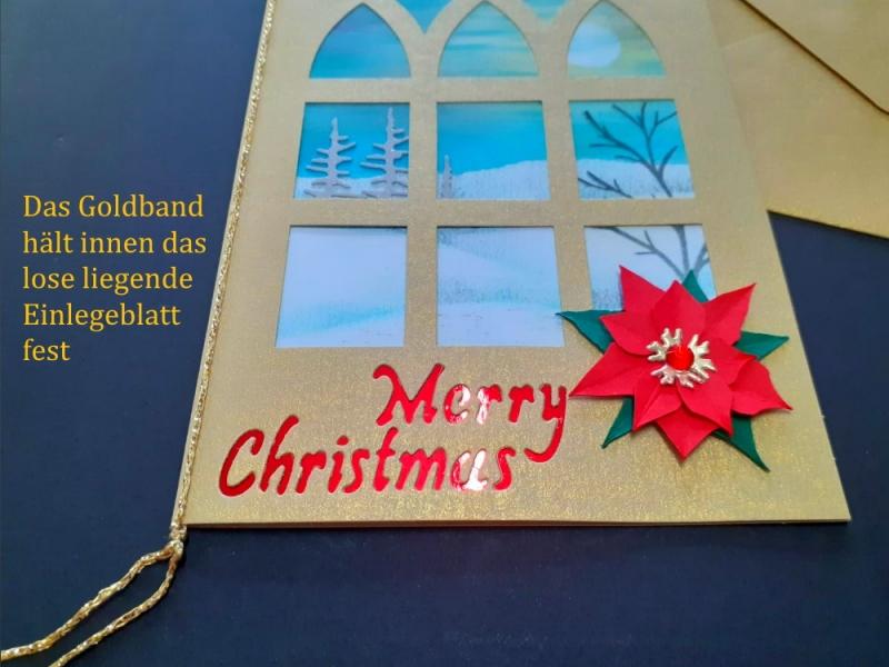 Kleinesbild - Weihnachtskarte mit Winterfenster und handgemalten Hintergrund aufwendig gestaltet, Merry Christmas, Weihnachten, Karte