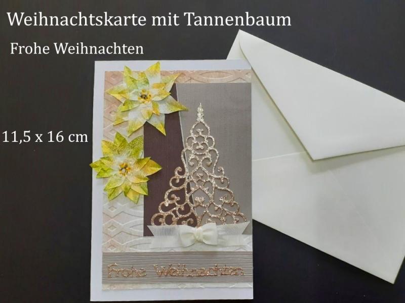 - Weihnachtskarte mit Tannenbaum, hergestellt aus verschiedenen Materialien, Frohe Weihnachten, Karte, Christmas  - Weihnachtskarte mit Tannenbaum, hergestellt aus verschiedenen Materialien, Frohe Weihnachten, Karte, Christmas