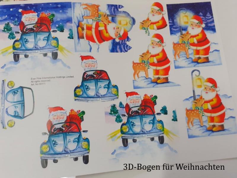 Kleinesbild - 3D-Vorlagen für Glückwunschkarten Weihnachtskarten, bunte Motive, Auflösung einer großen Bastel-Sammlung Bastelset