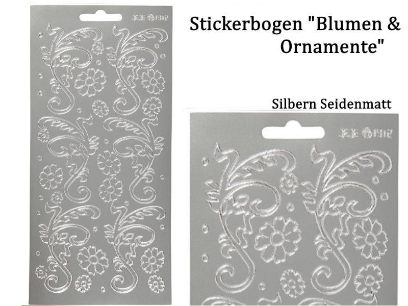 - Sticker für Karten, Konturensticker Motiv-> Blumen Ornamente, Silber matt, Papierbasteln, Aufkleber Kartengestaltung - Sticker für Karten, Konturensticker Motiv-> Blumen Ornamente, Silber matt, Papierbasteln, Aufkleber Kartengestaltung