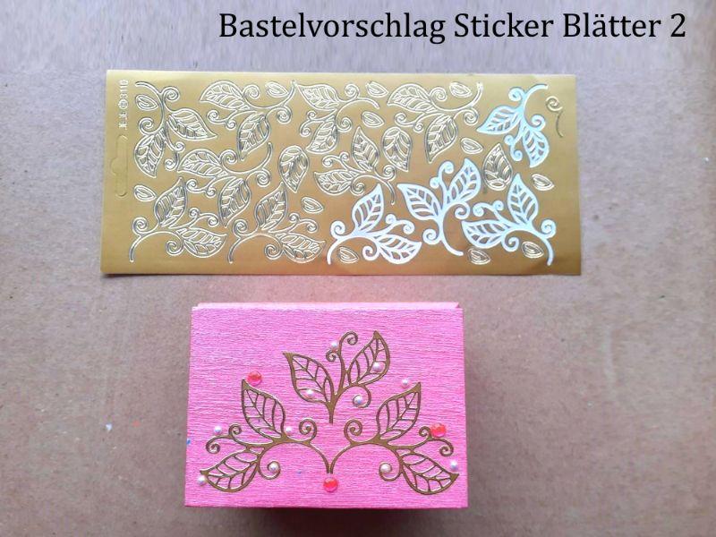 Kleinesbild - Sticker für Karten, Konturensticker Motiv-> Blätter 2, Golden, Silbern, Schwarz, Papierbasteln, Aufkleber Kartengestaltung