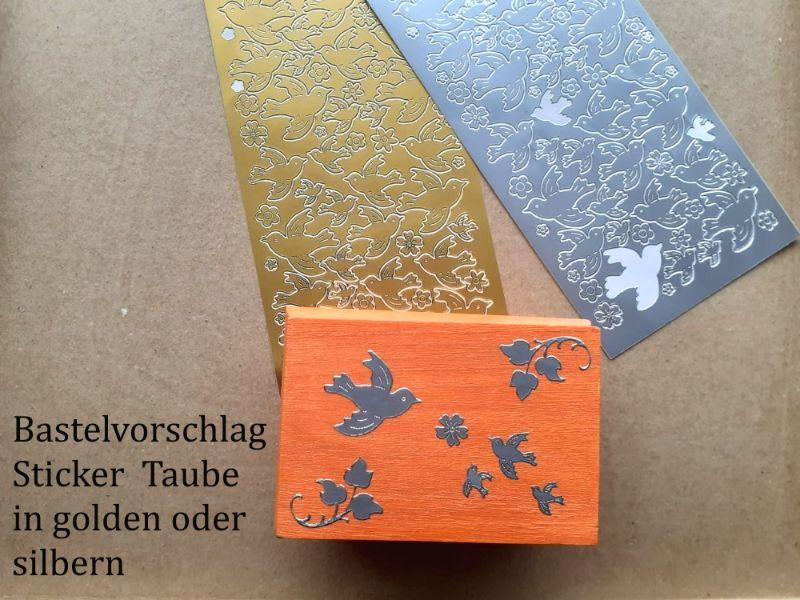 Kleinesbild - Sticker für Karten, Konturensticker Motiv-> Taube, Hochzeit, Golden oder Silbern, Papierbasteln, Aufkleber Kartengestaltung
