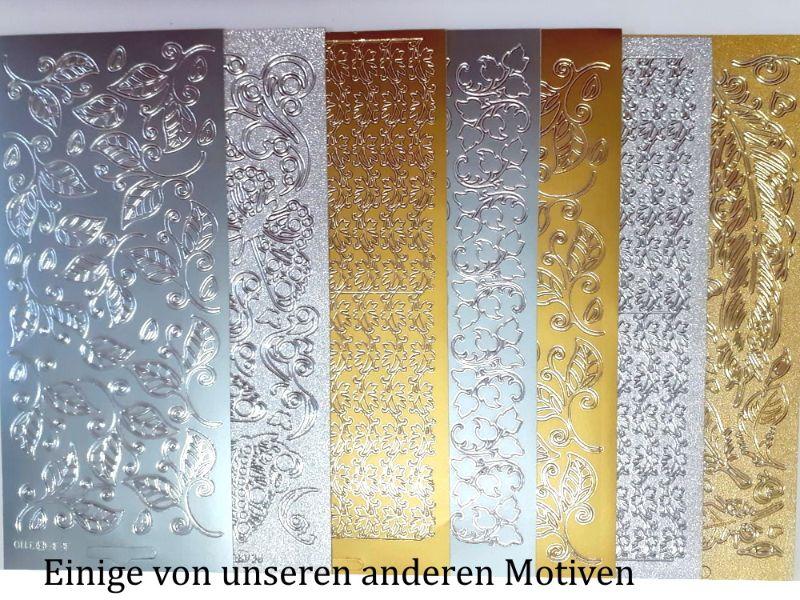 Kleinesbild - Sticker für Karten, Konturensticker Motiv-> Blätter-Borde, Golden oder Silbern, Papierbasteln, Aufkleber Kartengestaltung