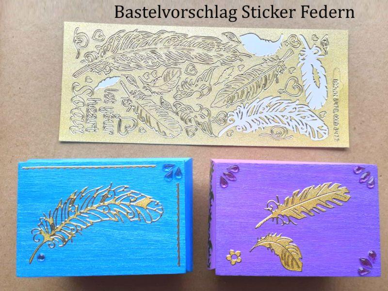 Kleinesbild - Sticker für Karten, Konturensticker Motiv-> Federn, Golden, Papierbasteln, Aufkleber Kartengestaltung