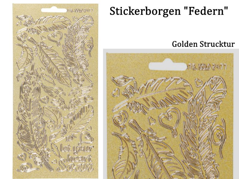 - Sticker für Karten, Konturensticker Motiv-> Federn, Golden, Papierbasteln, Aufkleber Kartengestaltung - Sticker für Karten, Konturensticker Motiv-> Federn, Golden, Papierbasteln, Aufkleber Kartengestaltung