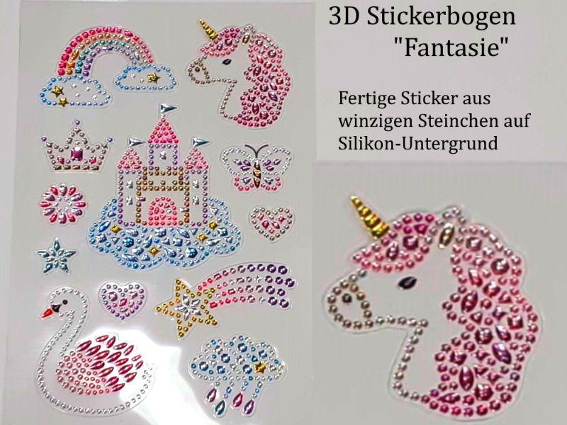 Kleinesbild - Sticker für Karten, 3D-Motive -> Schmetterlinge oder Fantasie-Einhorn, Papierbasteln, Aufkleber Kartengestaltung Kinder