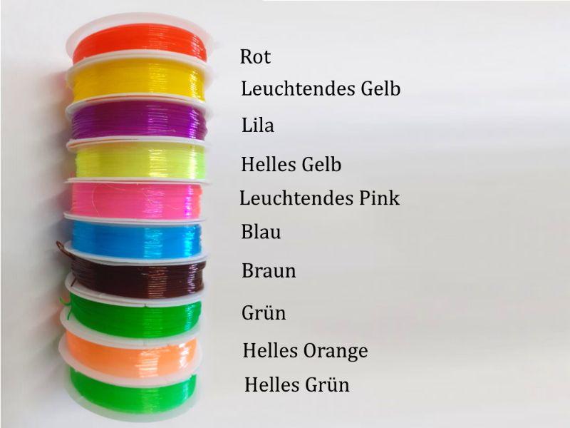 Kleinesbild - Perlengummi, Gummi zur Schmuckherstellung, Perlen fädeln, 10 Farben Auswahl + Quetschperlen gratis